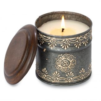 Ancient Philosophy Hand-Painted Artisan Tin Candle