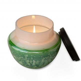 Evergreen Watercolor Glass Candle
